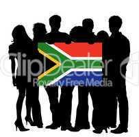 Menschen mit fahne südafrika