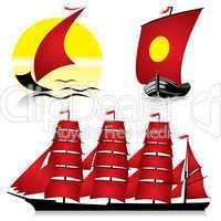 red sailing ships