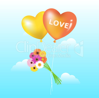 Balloons With Bunch Of Daisies
