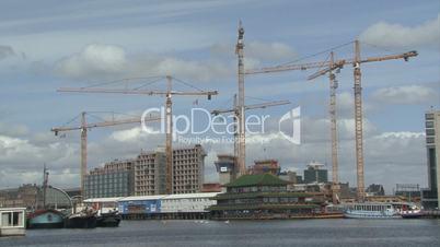 cranes timelapse on a building site