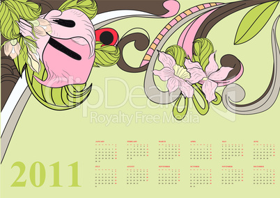 Decorative calendar for 2011