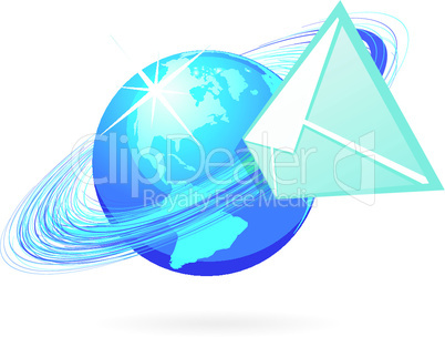 Mail in globe icon on white background