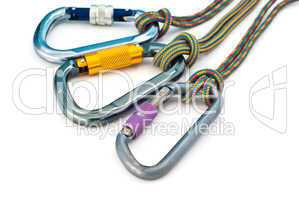 climbing equipment - carabiners and ropes
