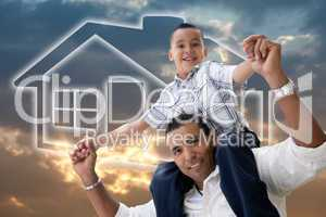 Father and Son Over Clouds, Sky and House Icon.
