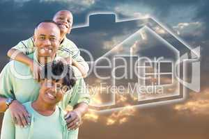 Family Over Clouds, Sky and House Icon