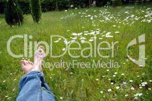 Füße auf Blumenwiese