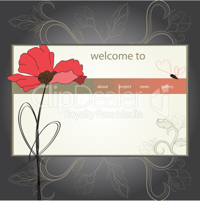 website design template with poppy flower