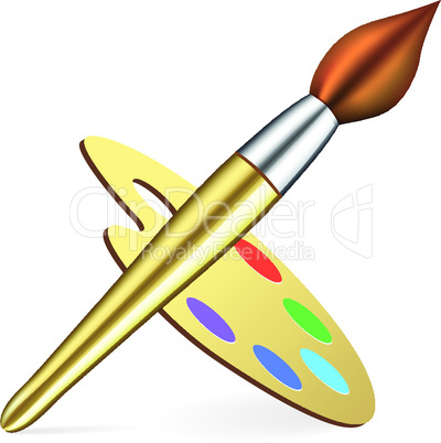 Vector artist's palette and brush on white background