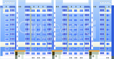 Beautiful multi-storey buildings vector illustrations