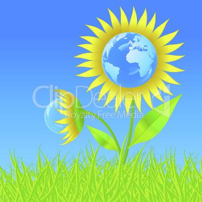 Erdball in Sonnenblume
