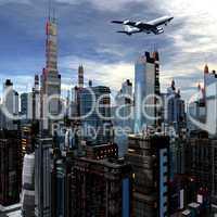 airliner above futuristic cityscape