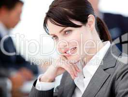 Assertive businesswoman in a meeting