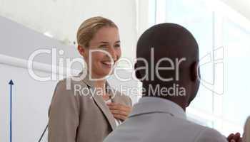 Successful businesswoman doing a presentation