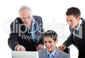 Self-assured businessmen working at a computer