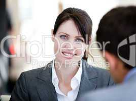 Self-assured businesswoman in a meeting