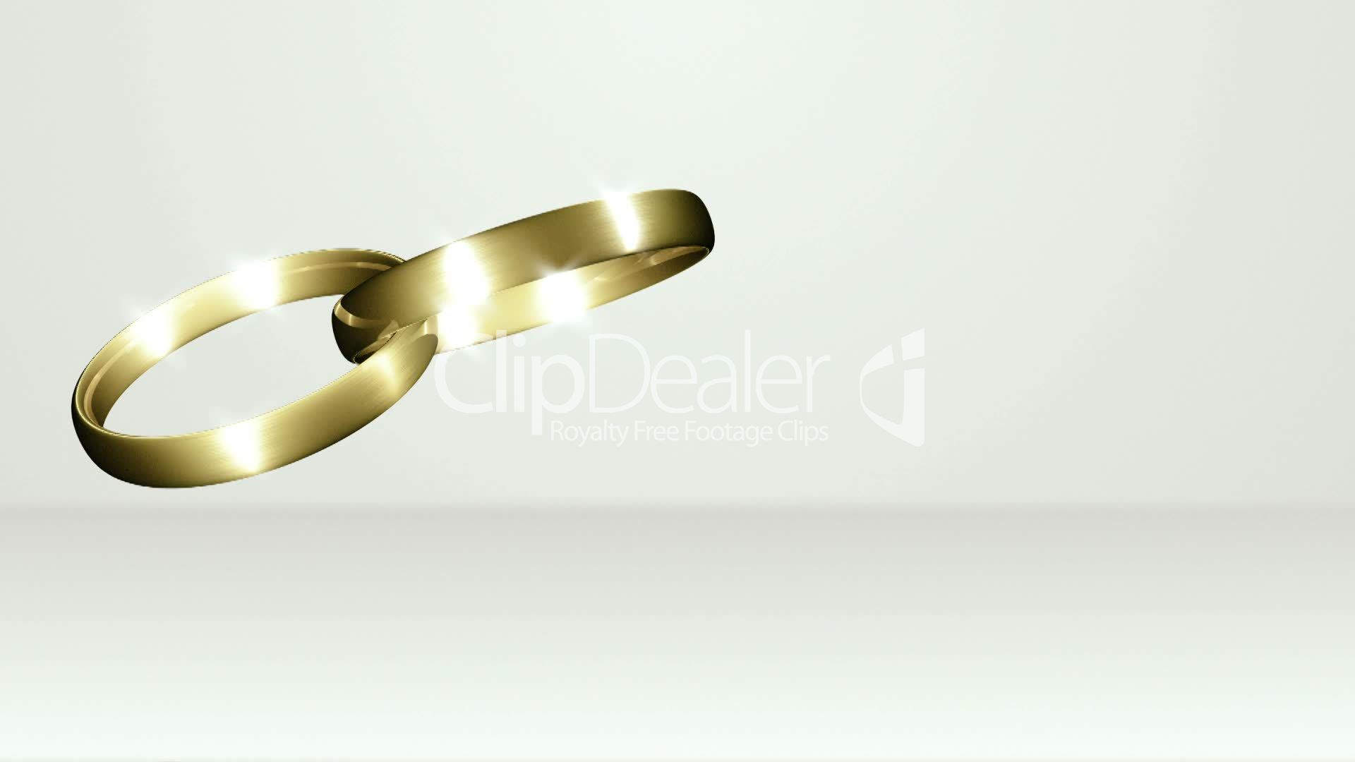 Two Wedding Rings Crossed White Stage Royalty free video and stock footage