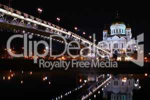 Cathedral of Christ the Savior in Moscow at night