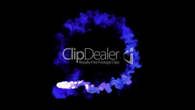Blue abstract smoke jet loop