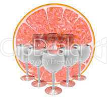 orange slice with cocktail glass