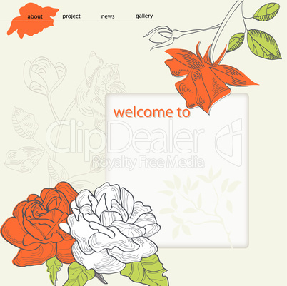 website design template with Rose flower