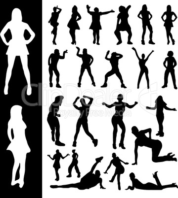Silhouettes of active women