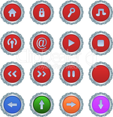 red buttons or icons