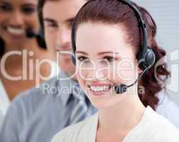 International customer service representatives standing in a lin