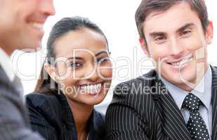 Happy business people isolated on a white background