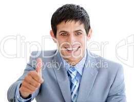 Charming businessman with a thumb up