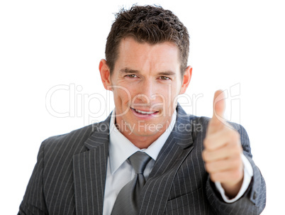 Assertive businessman with a thumb up