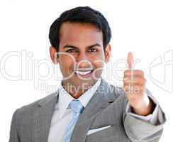 Positive businessman with a thumb-up sign