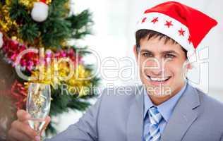 Caucasian businessman celebrating christmas