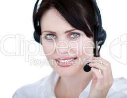 Radiant sales representative woman with an headset