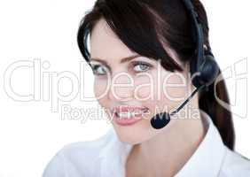 Portrait of sales representative woman with an headset
