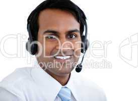 Positive sales representative man with an headset