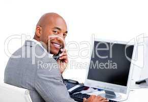Charismatic businessman talking on phone