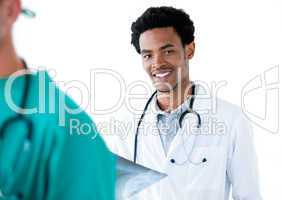 Afro-american male doctor standing