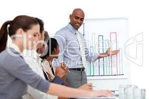 Confident manager presenting a chart explaining the results to h