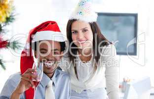 Business partners drinking to celebrates christmas