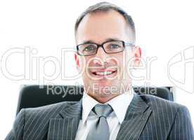Portrait of a relaxed businessman wearing googles