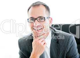 Portrait of an smiling businessman wearing googles