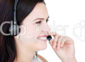 Happy businesswoman wearing a headset to talk with customer
