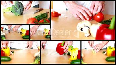 Slicing vegetables - preparing salad montage