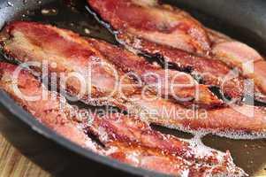 Bacon frying in a pan