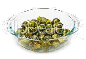 Casserole dish of brussels sprouts