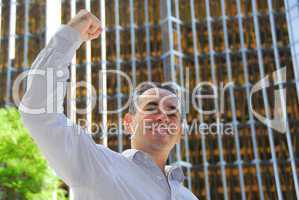 Businessman triumph