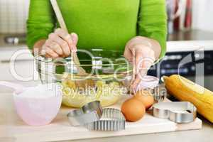 Mixing ingredients for cookies
