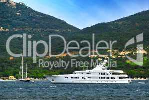 Luxury yacht at the coast of French Riviera