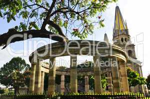 Rotunda of Illustrious Jalisciences and Guadalajara Cathedral in Jalisco, Mexico