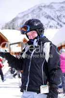 Child at downhill skiing resort